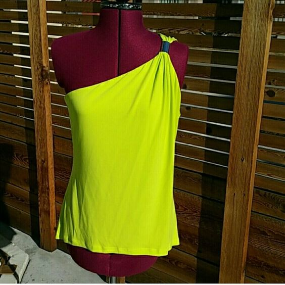 Michael Kors Lime slice one shoulder top 94% polyester, 6% spandex. Length from top to bottom-back-26 inches-front-24 inches. MICHAEL Michael Kors Tops