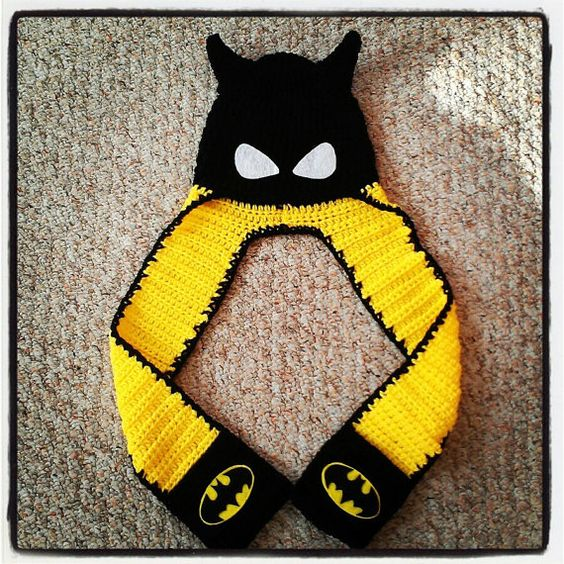 Knitting Pattern Batman Scarf : Scarf hat, Batman and Scarfs on Pinterest