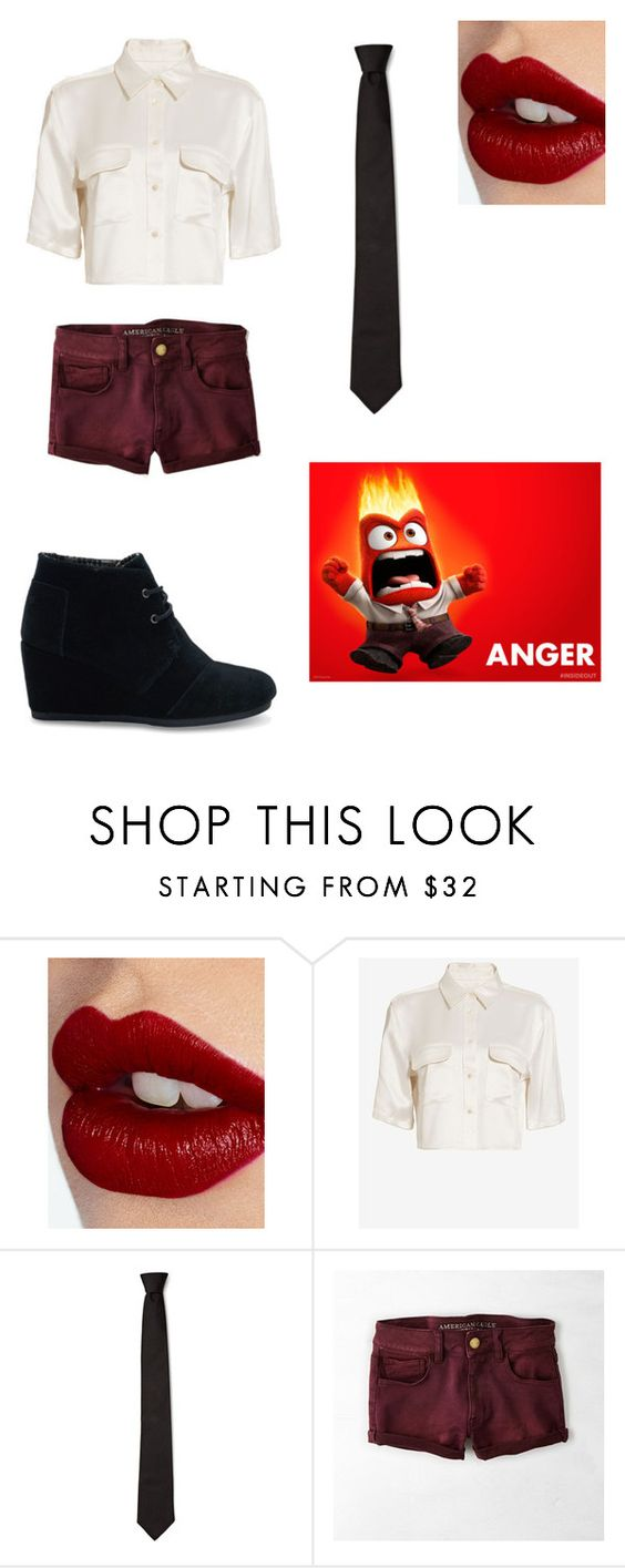 """Anger"" by artsykittycat ❤ liked on Polyvore featuring Charlotte Tilbury, Equipment, American Eagle Outfitters and TOMS"