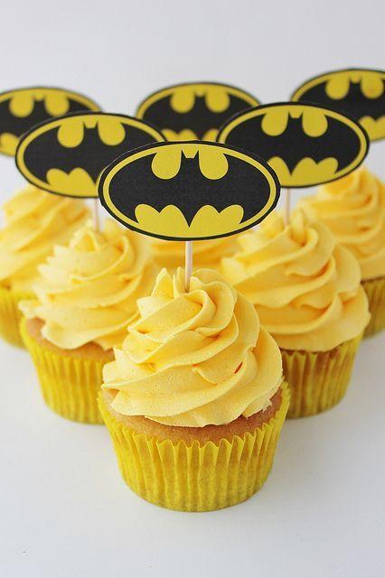 Bright yellow Batman cupcakes
