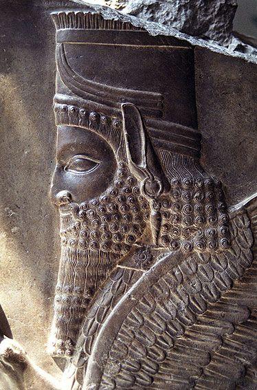 Persepolis Arqueología. Detalle de Relieve cabeza antropomorfa Anunaki