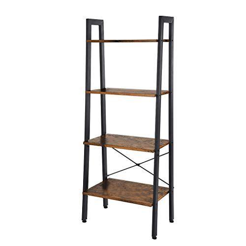 Aukeo Industrial Ladder Shelf Vintage 4 Tier Bookshelf Storage