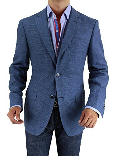 Bianco B Men's Two Button Linen Blazer Modern Fit Jacket (36 Regular US / 46 Regular EU, Blue Check) Bianco B http://www.amazon.com/dp/B00L9NQLXW/ref=cm_sw_r_pi_dp_VfADub1JXFKR4