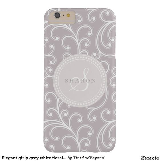 """Elegant girly grey white floral pattern monogram barely there iPhone 6 plus case. """"Tint and Beyond"""" #floral #iphone #case #girly #grey #elegant #monogram"""