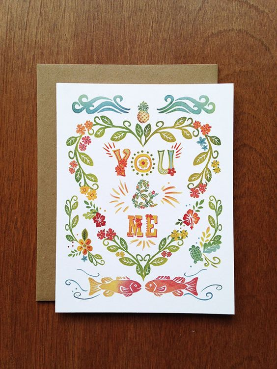 You & Me  Single Card  A2 size 4 1/4 x 5 1/2 when by LetterWood, $4.50