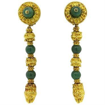 Impressive Greek Nephrite 18k Gold Chimera Long Drop Earrings