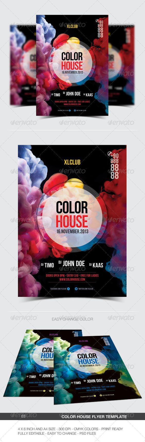 """Color House Flyer/Poster - 03 #GraphicRiver Color House Party/Flyer easy to edit text and elements, Features. 4×6 (4.25""""x6.25"""" with bleed ) and A4 size 300 DPI CMYK Print Ready! Full Editable, Layered 2 PSD Files Font used. Bebas Neue .dafont /bebas-neue.font Please dont forget to rate it… Created: 5November13 GraphicsFilesIncluded: PhotoshopPSD Layered: Yes MinimumAdobeCSVersion: CS"""