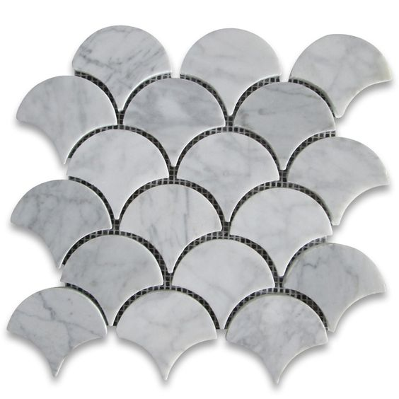 Carrara White Grand Fish Scale Fan Shaped Mosaic Tile Polished $14.99 sheet