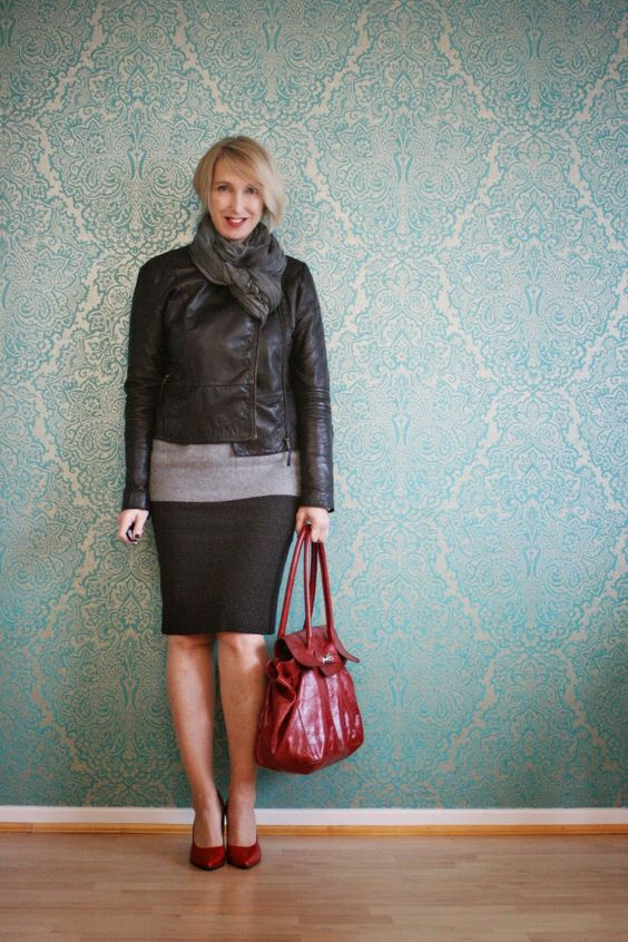Glam up your lifestyle: Gray office outfit with red accessories