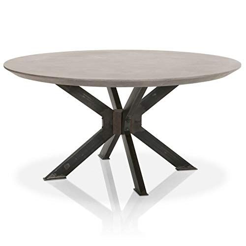 Maklaine Round Dining Table In Ash Gray Concrete And Distressed Black Iron 60 Round Dining Table Dining Table Round Dining Table