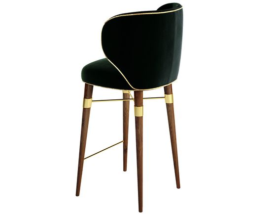 With a gentle velvet and a contrasting golden cord, a classic design radiates from this chair's modern lines. The Louis bar chair rests on solid walnut legs with Ottiu's signature brass accents.: