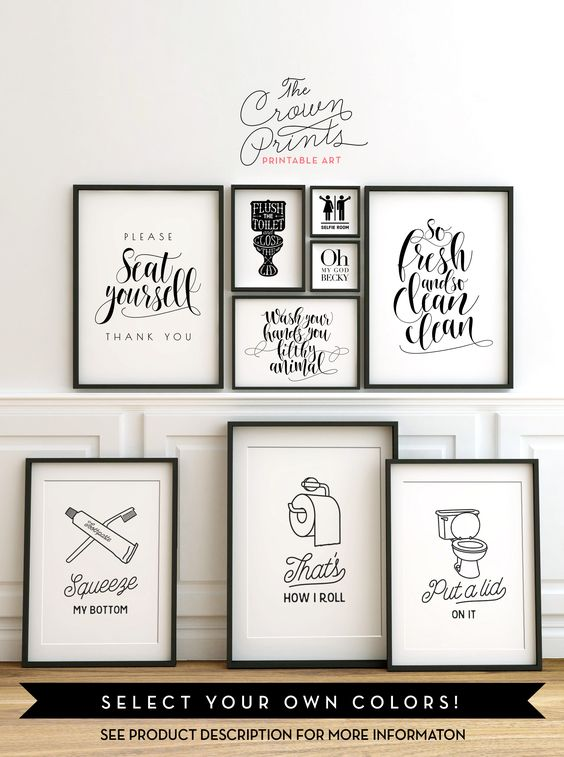 Bathroom Wall Decor Etsy : Printable bathroom wall art from the crown prints on etsy