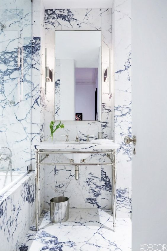 Marbles blue marbles and apartments decorating on pinterest for Blue and silver bathroom ideas