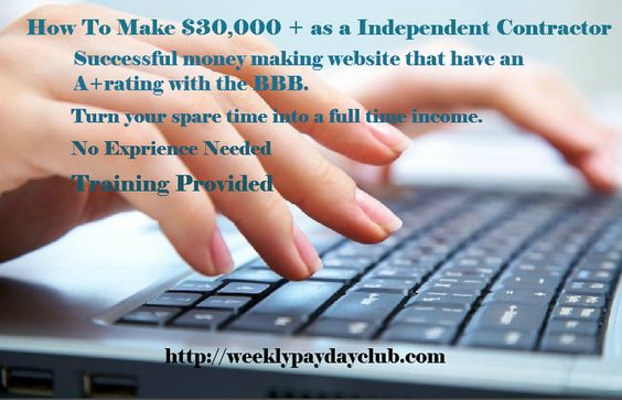How to turn your spare time into a full time income. http://weeklypaydayclub.com