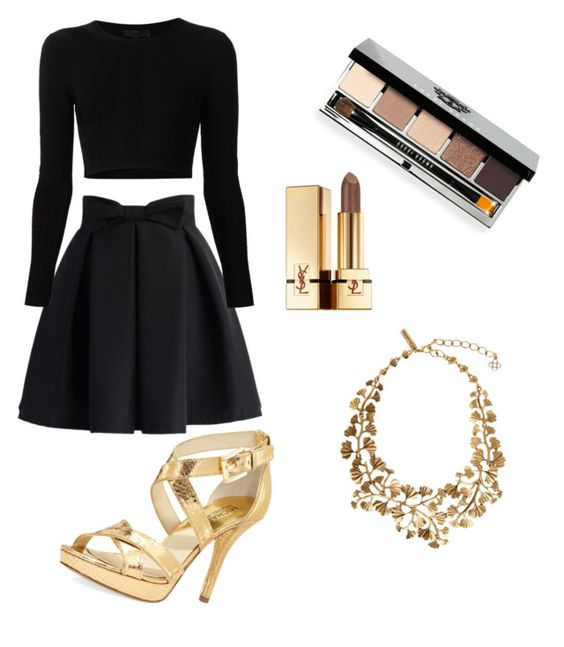 """Untitled #6"" by stephsavage on Polyvore featuring MICHAEL Michael Kors, Chicwish, Cushnie Et Ochs, Oscar de la Renta, Bobbi Brown Cosmetics and Yves Saint Laurent"