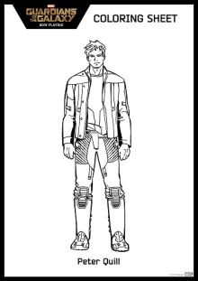 Free Guardian of the Galaxy coloring page Peter Quill | SKGaleana