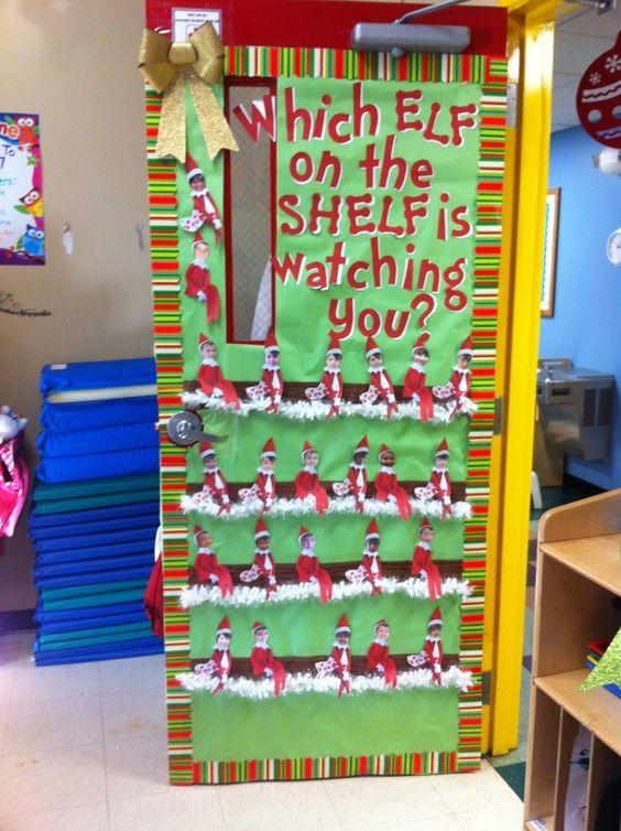 Christmas door decorating contest winners on the for Elf door and elf