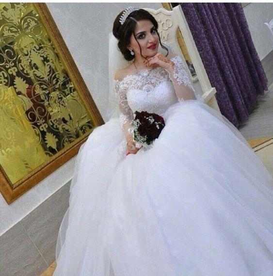 Projeto árabe Puffy vestido de noiva decote quadrado Appliqued frisado pérolas manga comprida vestidos de casamento da princesa em Ação e personagens de Brinquedos & Lazer no AliExpress.com | Alibaba Group