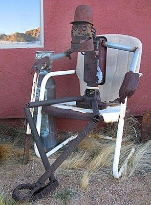 Sorry! This seat's taken. Garden junk man.
