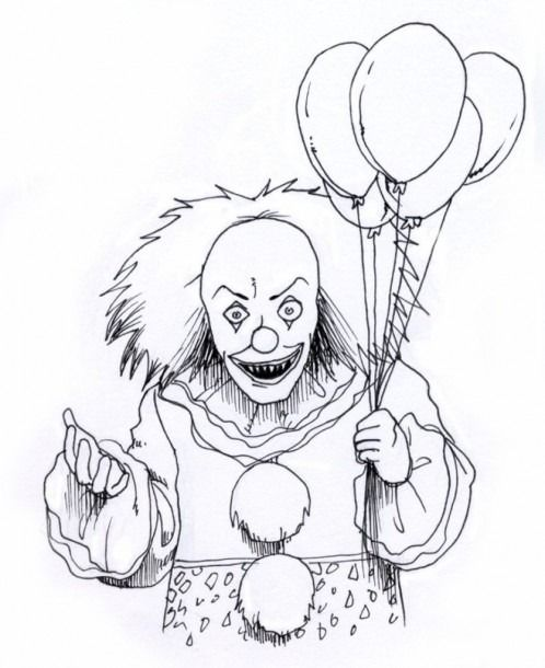 Coloring Pages Of Pennywise The Clown Scary Coloring Pages Scary Drawings Scary Clown Drawing