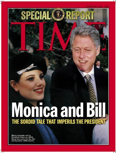 This photo ties into with my event because Bill Clinton got caught having an affair with his twenty-one year old intern named Monica Lewinsky. Bill was caught having the fair around the time he was being impeached.