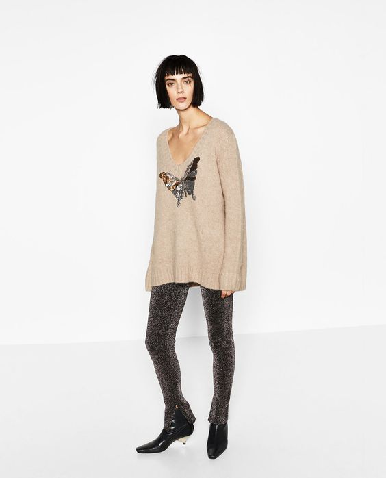 Image 1 of EMBROIDERED SWEATER WITH V-NECK from Zara