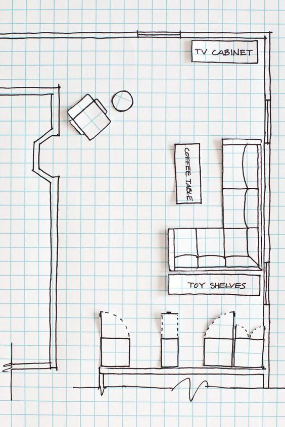 Teenage Room Makeover on a Budget - cheap and easy DIY teen bedroom makeover ideas to redo a teenage girl's bedroom -Room Layout Drawing on Graph Paper to Rearrange a Room
