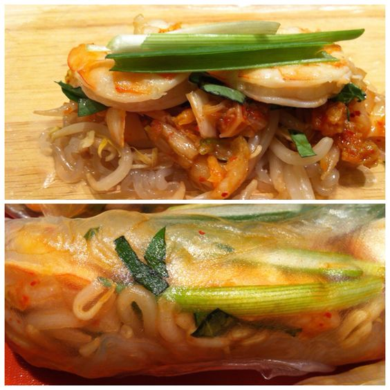 My play on a spring roll, rice paper wrappers, shiritaki noodles, bean sprouts, kimchi, Thai basil, shrimp and scallions. These were not only delicious, but super healthy!
