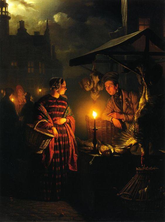 Market Place by Candlelight. Petrus van Schendel: