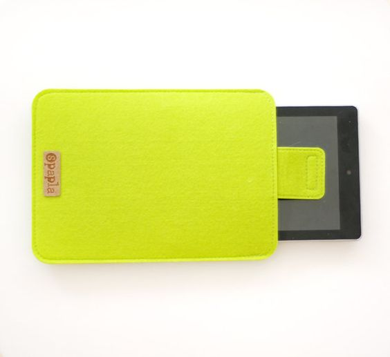 Tablet felt Cover padded Tablet carry case Green Kindle by Spapla