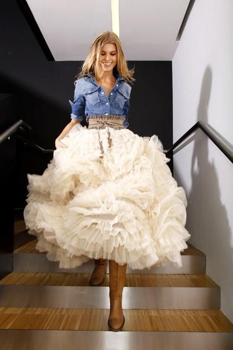 It�s Casual - a cute way to remix a tulle cowgirl skirt with a chambray shirt. #cute #chic #fashion equestrianlover.com: