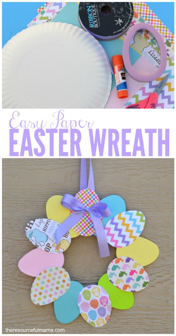 This is an easy paper Easter wreath that kids and adults will enjoy.: