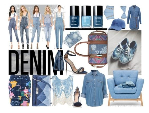 """""""Denim, Everyday in Everyway!"""" by bluecatreview13 ❤ liked on Polyvore featuring Manolo Blahnik, Desigual, H&M, Sans Souci, Love Moschino, Gianvito Rossi, Lisa Marie Fernandez, Topman and denim"""