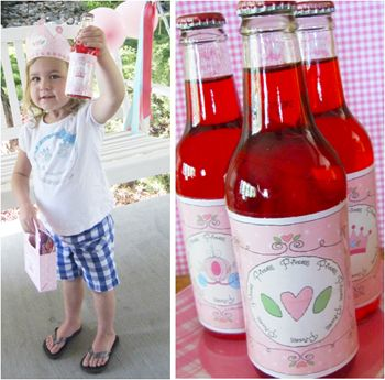 """The tea party has begun and all the little Princesses have started to arrive.  Have """"Princess"""" themed party bottles at each place around the table to make them feel special!  This download packet includes six different printable bottle label images and two different sizes.  Attach them to your favorite soda, water bottles, or juice bottles.  Download, print and party."""