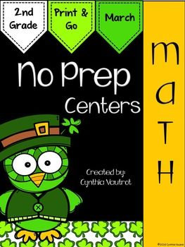 NO PREP!  Math Centers: 2nd Grade:  March : NO PREP Math Centers for March is a unit full of hands-on, engaging, fun math activities that are ready to PRINT & GO!No Prep Math centers will keep your students engaged and enjoying learning while making sure they are getting the necessary math skills as they complete spiral reviews of concepts each month throughout the year.