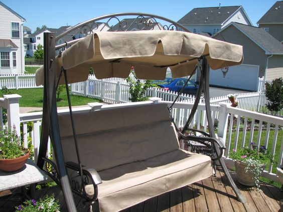 Costco patio swing refurbished heather beige canopy 165 cushion