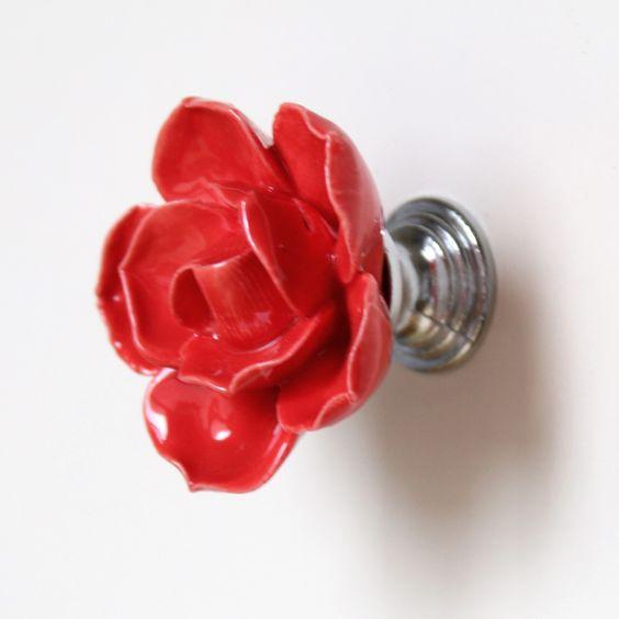 $29.50 (Buy here: http://appdeal.ru/8qpr ) Red Flower Pattern Ceramic Cabinet Knob Kitchen Cupboard Closet Dresser Drawer Handles Pulls for just $29.50