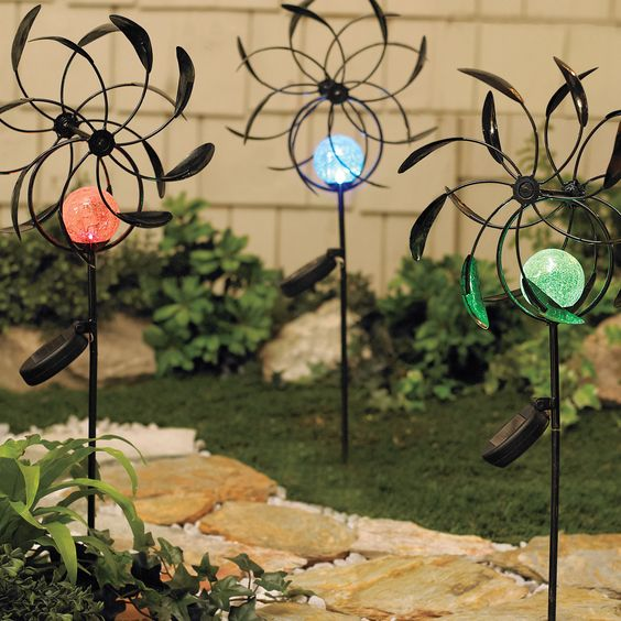 Crackle-Glass Wind Spinner with Color-Changing Solar Light ~ $24.99 at brylanehome.com