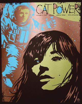 Original silkscreen concert poster for Cat Power at Stubbs BBQ in Austin, TX.