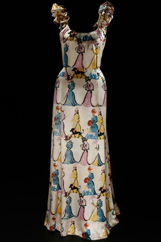 Vintage 1930s-1940s Elsa Schiaparelli novelty print dress - Its very unusual how dresses that old can still be found in the modern day and still be very fashionable.