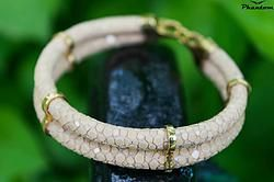 Beige Stingray Leather Bracelet 135 USD. This bracelet crafted from beige stingray leather with gold-plated sterling silver decorations will take everyone's breath away. #jewelry #leatherbracelet #phantom #stingraybracelet #silver #handcrafted #beautiful #bracelet #fashion #musthave #leather