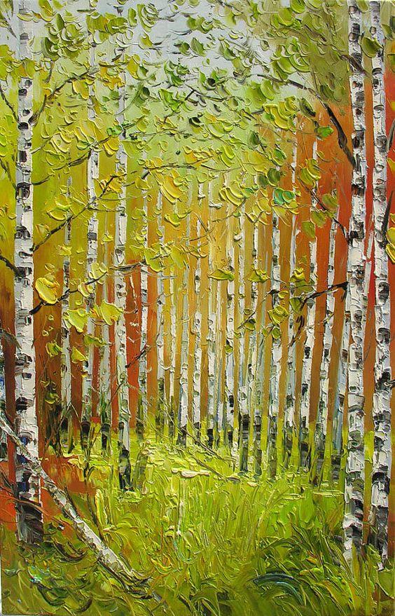 MADE2ORDER ORIGINAL pared hecha a mano de pintura al óleo espátula Otoño colorido paisaje bosque árboles amarillo blanco abedul verde arte por Marchella