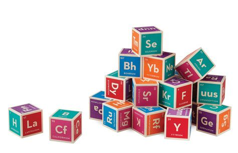Science! Handmade in Grand Rapids, these colorful wooden building blocks ($33) indroduce young would-be chemists to the 118 elements in the Periodic Table.