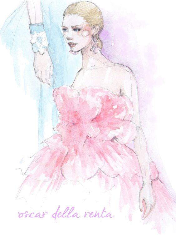 Oscar de la Renta ss14 #oscardelarenta #ss14 #fashionillustration #paperfashionclass #pinodesk
