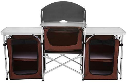 Portable Camping Kitchen Table Multifunctional Camping Kitchen Table Windscreen Camping Table Easy-to-Clean Cooking Table Camping Light