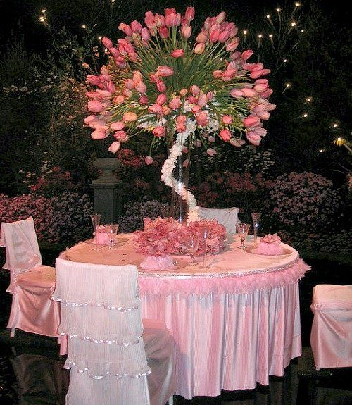 Love the centerpiece and chair covers just get rid of
