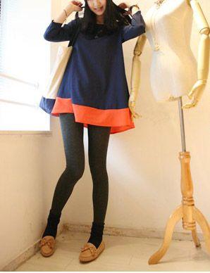 Colorblock Shift Blouse Dress