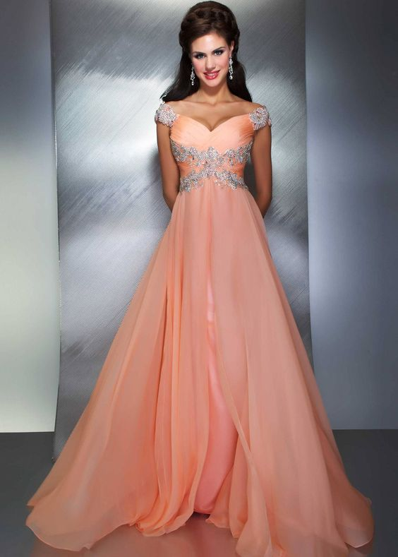 Mac Duggal 64402M - Peach Beaded Chiffon Prom Dresses Online ...