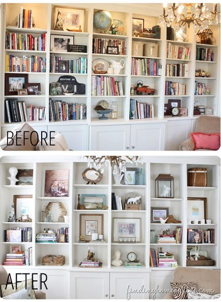 BookcaseBeforeandAfter thumb Lessons Learned in Styling a Bookcase: