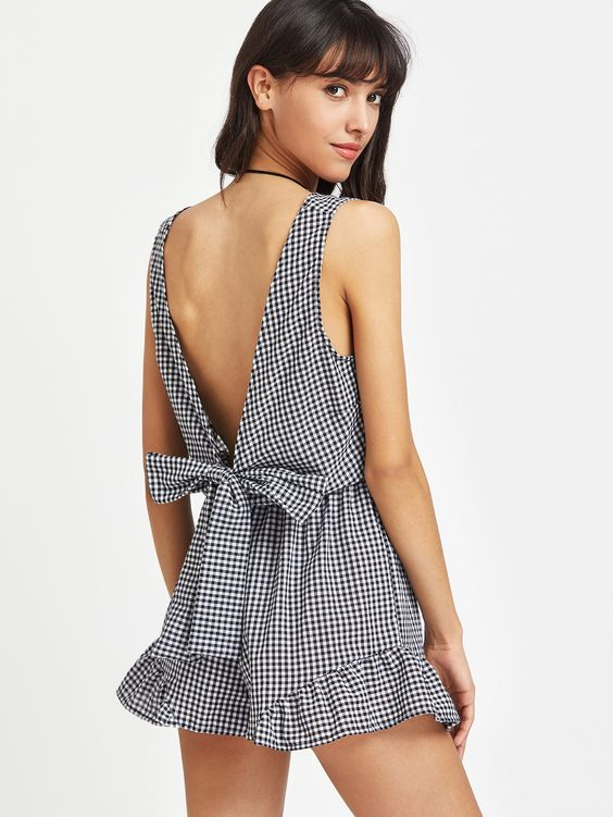 Shop Plunged Gingham Bow Tie Back Romper online. SheIn offers Plunged Gingham Bow Tie Back Romper & more to fit your fashionable needs.
